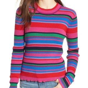 Ribbed Lettuce Edge Stripe Sweater (NWT)